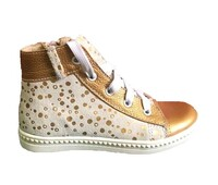 Ботинки на шнурках бело-золотые 90357 Ж